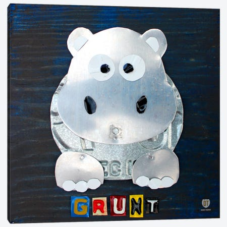 "Recycled License Plate Animal Sound Series: ""Grunt"" The Hippo Canvas Print #9710} by Design Turnpike Canvas Print"