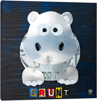 """Recycled License Plate Animal Sound Series: """"Grunt"""" The Hippo Canvas Print #9710"""