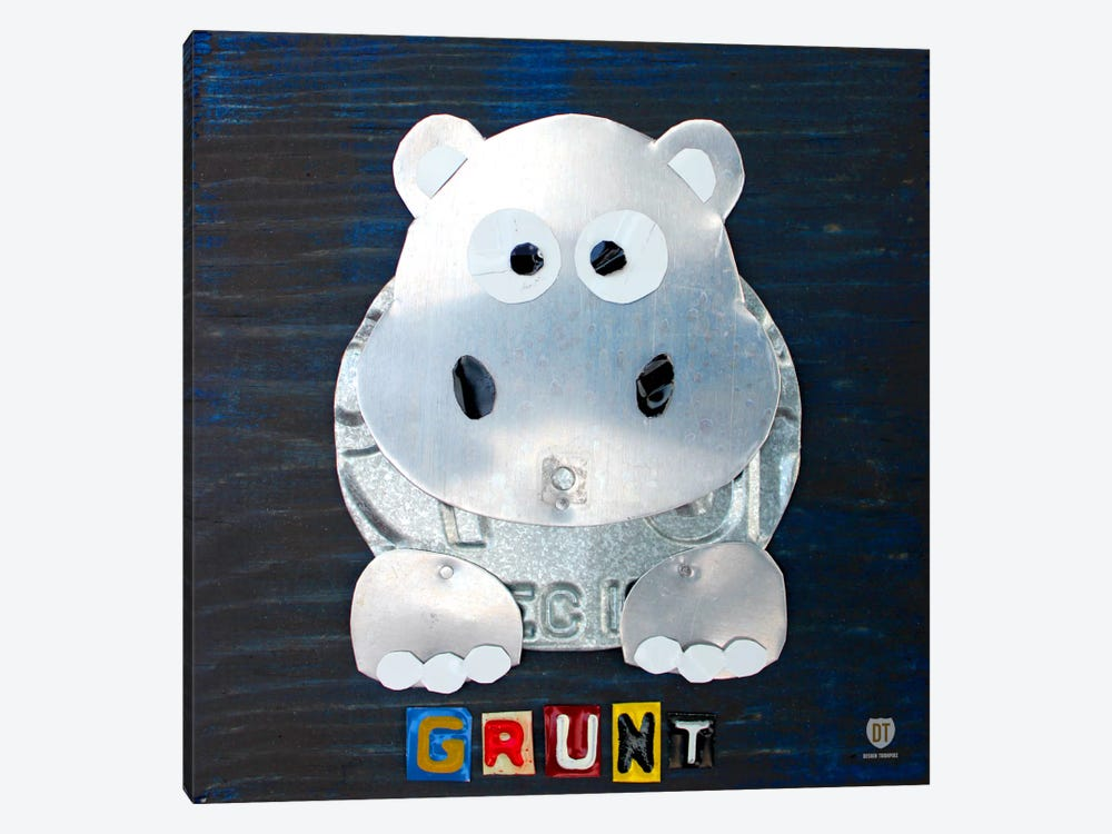 "Recycled License Plate Animal Sound Series: ""Grunt"" The Hippo by Design Turnpike 1-piece Art Print"