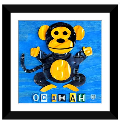 "Recycled License Plate Animal Sound Series: ""Oo Ah Ah"" The Monkey Framed Art Print"
