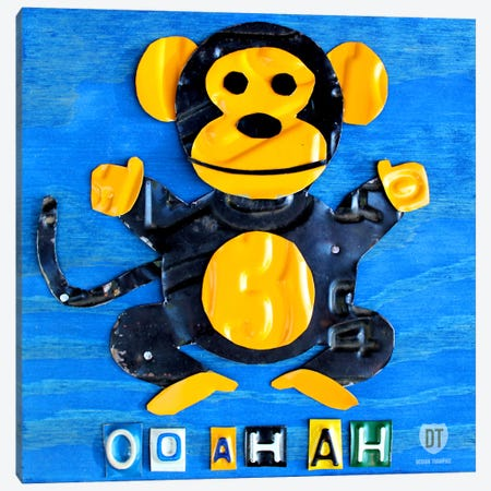 "Recycled License Plate Animal Sound Series: ""Oo Ah Ah"" The Monkey Canvas Print #9711} by Design Turnpike Art Print"