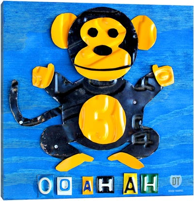 "Recycled License Plate Animal Sound Series: ""Oo Ah Ah"" The Monkey Canvas Art Print"