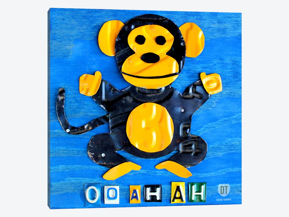 "Recycled License Plate Animal Sound Series: ""Oo Ah Ah"" The Monkey by Design Turnpike 1-piece Canvas Artwork"