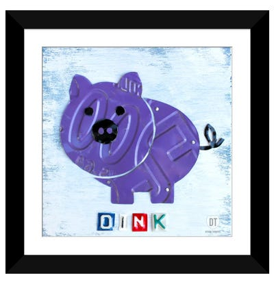 "Recycled License Plate Animal Sound Series: ""Oink"" The Pig Framed Art Print"