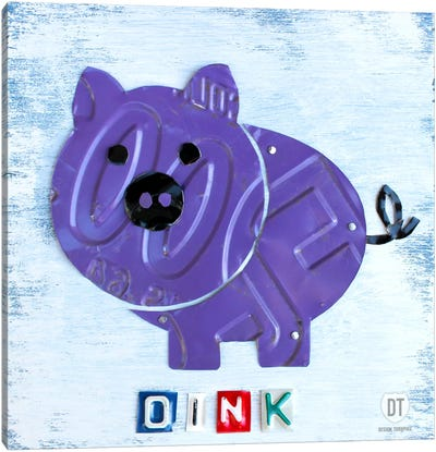 "Recycled License Plate Animal Sound Series: ""Oink"" The Pig Canvas Art Print"