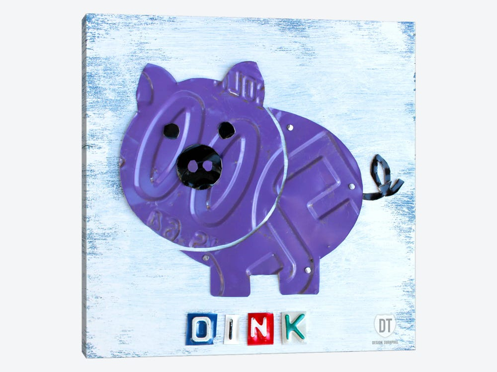 "Recycled License Plate Animal Sound Series: ""Oink"" The Pig by Design Turnpike 1-piece Canvas Print"
