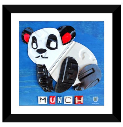 "Recycled License Plate Animal Sound Series: ""Munch"" The Panda Framed Art Print"