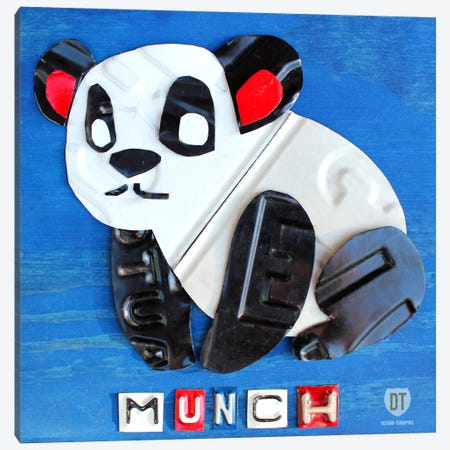 "Recycled License Plate Animal Sound Series: ""Munch"" The Panda Canvas Print #9713} by Design Turnpike Canvas Print"