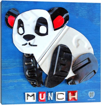 "Recycled License Plate Animal Sound Series: ""Munch"" The Panda Canvas Art Print"