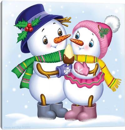 Two Snowmen Canvas Art Print