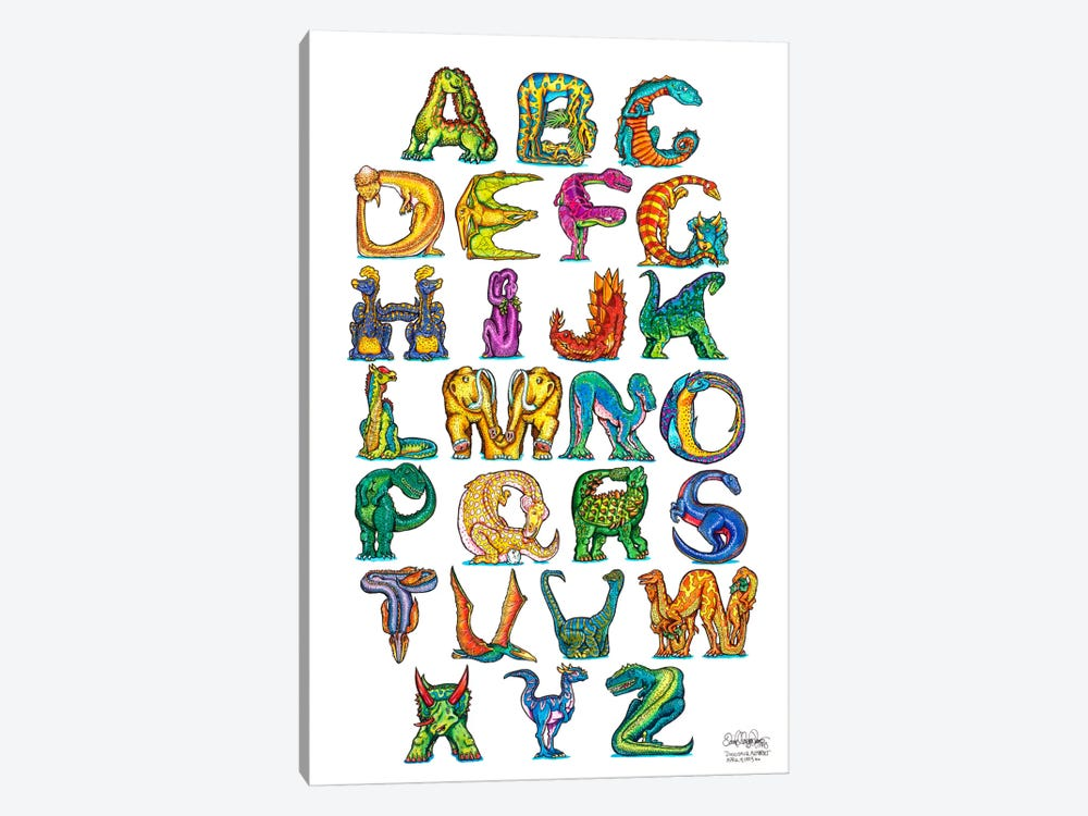 Dinosaur Alphabet by David Russo 1-piece Canvas Art Print