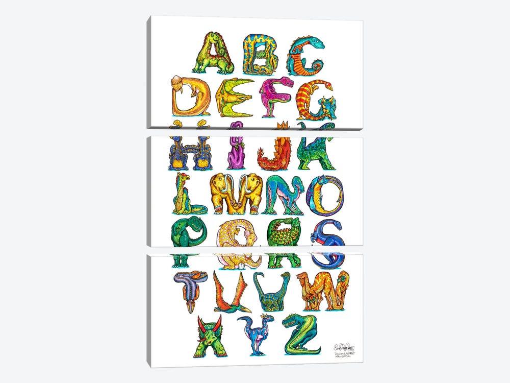 Dinosaur Alphabet by David Russo 3-piece Canvas Print