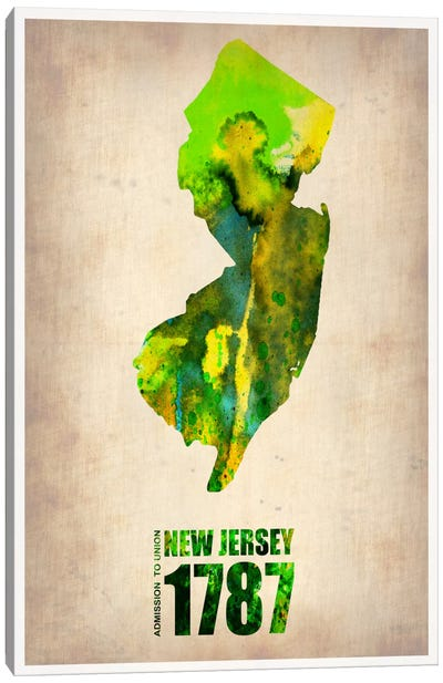 New Jersey Watercolor Map Canvas Print #9817