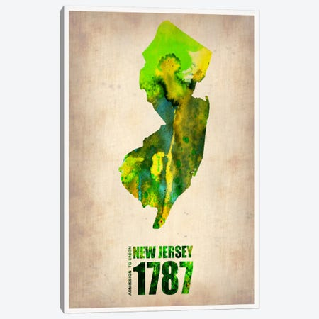 New Jersey Watercolor Map Canvas Print #9817} by Naxart Canvas Art Print