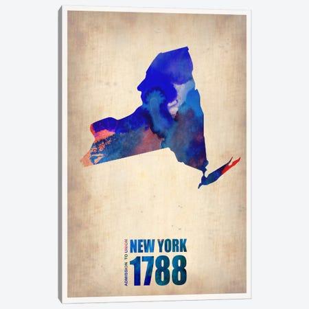 New York Watercolor Map Canvas Print #9820} by Naxart Art Print