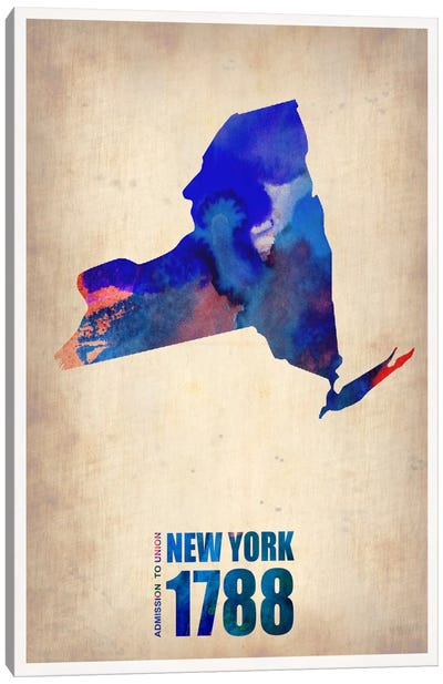 New York Watercolor Map Canvas Art Print