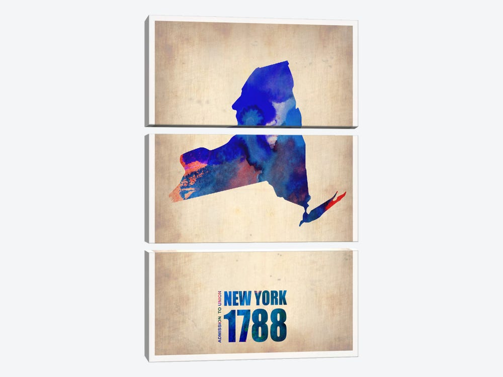 New York Watercolor Map by Naxart 3-piece Canvas Wall Art