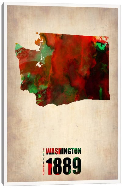 Washington Watercolor Map Canvas Art Print