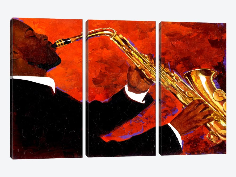 Man on Fire by Keith Mallett 3-piece Canvas Art