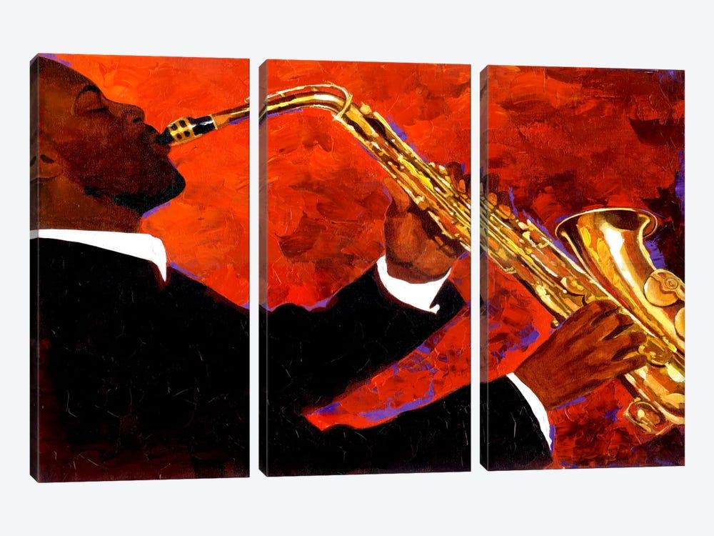 Man on Fire by Keith Mallett 3-piece Canvas Art