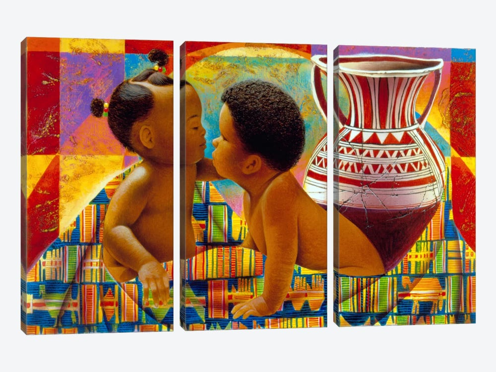 Treasures of Africa by Keith Mallett 3-piece Canvas Art Print