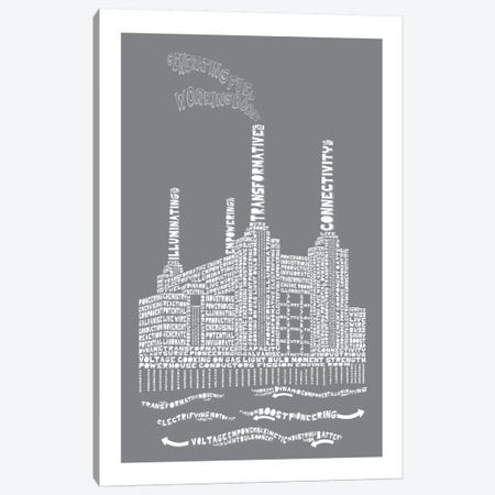 Battersea Power Station, London, Slate 3-Piece Canvas #AAA10} by Citography Canvas Art