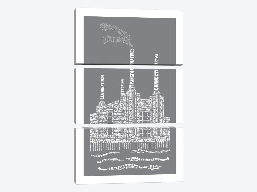Battersea Power Station, London, Slate by Citography 3-piece Canvas Wall Art