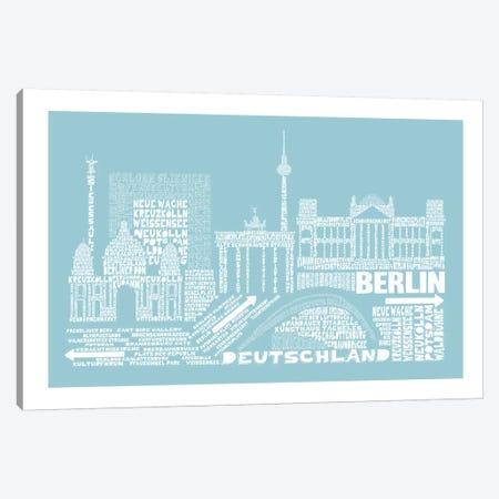 Berlin, Aqua Canvas Print #AAA11} by Citography Canvas Artwork