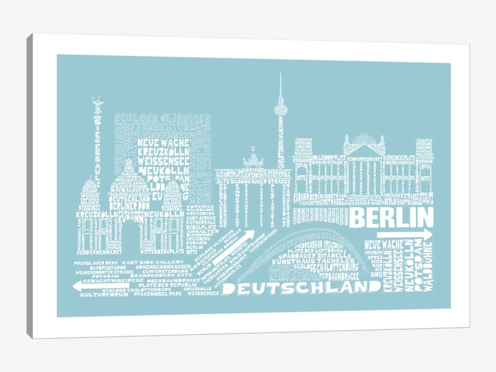 Berlin, Aqua by Citography 1-piece Canvas Print