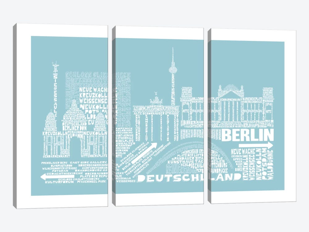 Berlin, Aqua by Citography 3-piece Art Print