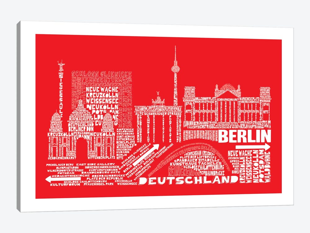 Berlin, Red by Citography 1-piece Canvas Print