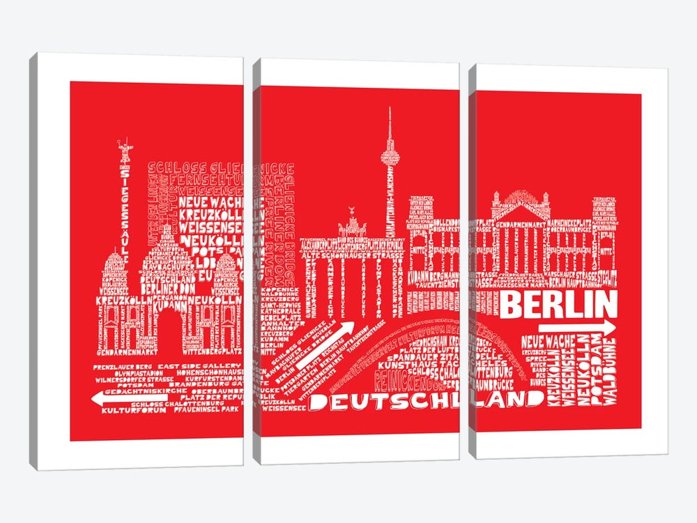 Berlin, Red by Citography 3-piece Art Print