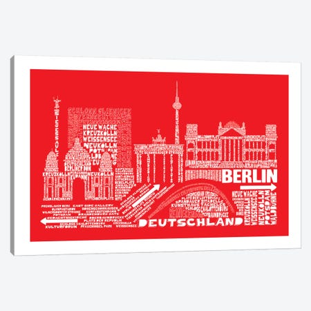 Berlin, Red 3-Piece Canvas #AAA13} by Citography Canvas Art