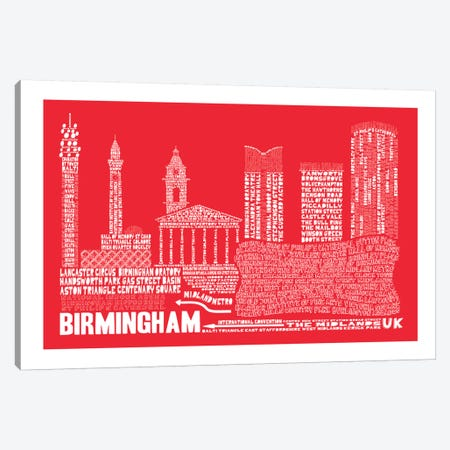 Birmingham, Red Canvas Print #AAA14} by Citography Art Print