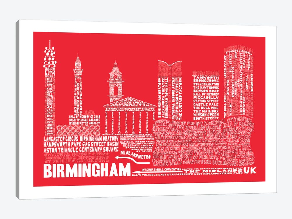 Birmingham, Red by Citography 1-piece Canvas Art