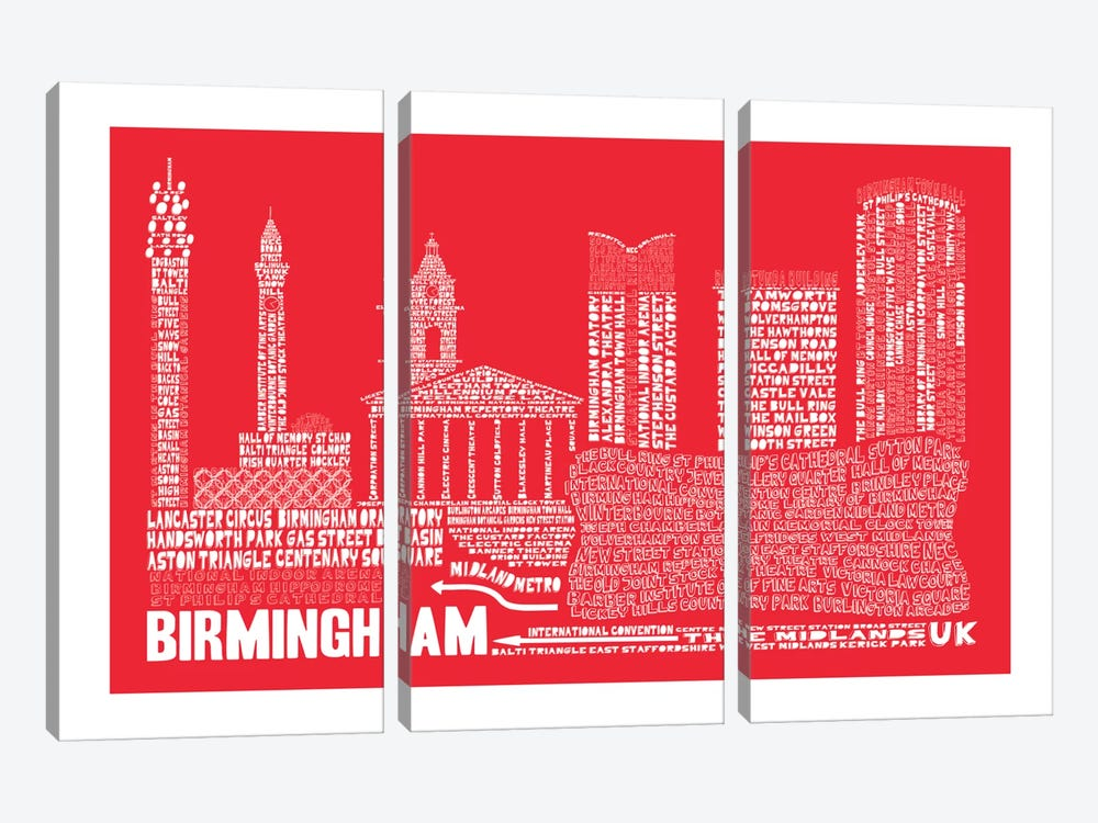 Birmingham, Red by Citography 3-piece Canvas Artwork