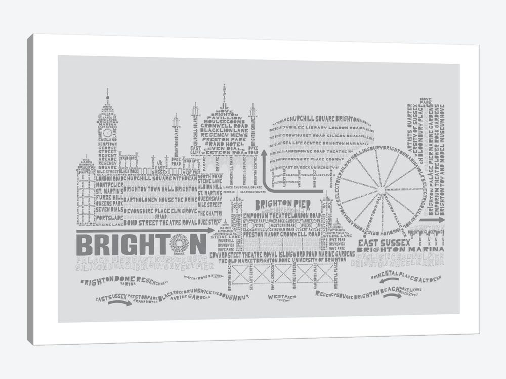 Brighton, Dove & Slate by Citography 1-piece Art Print
