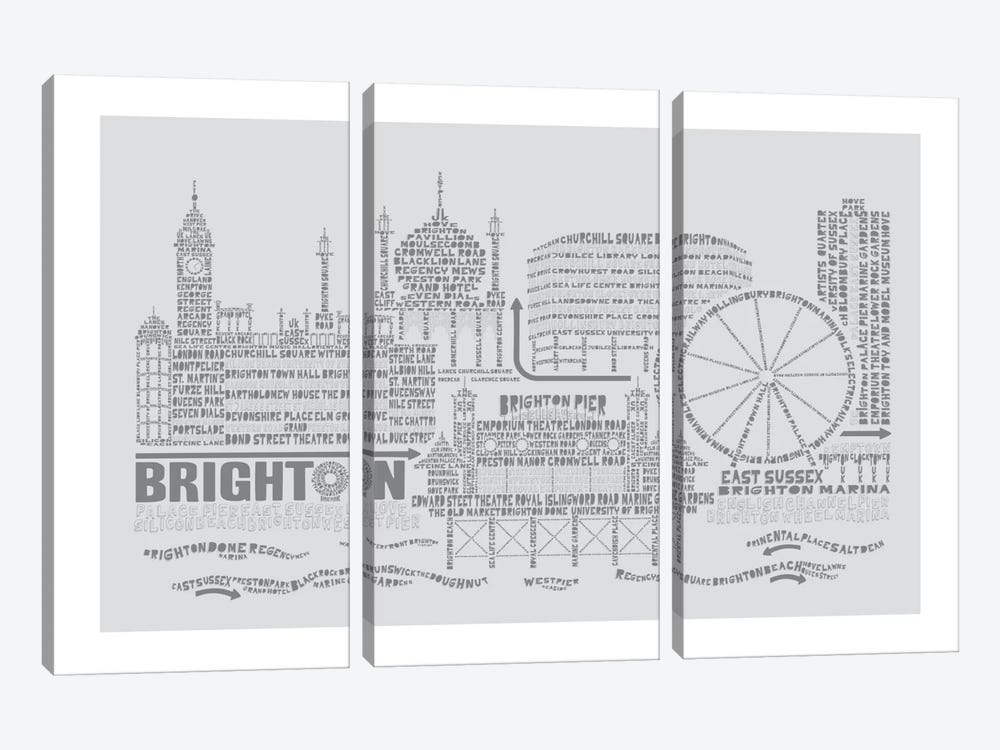 Brighton, Dove & Slate by Citography 3-piece Canvas Art Print