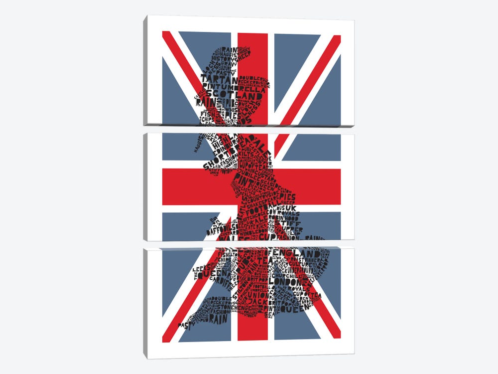 Britain, Red & Blue by Citography 3-piece Canvas Art Print