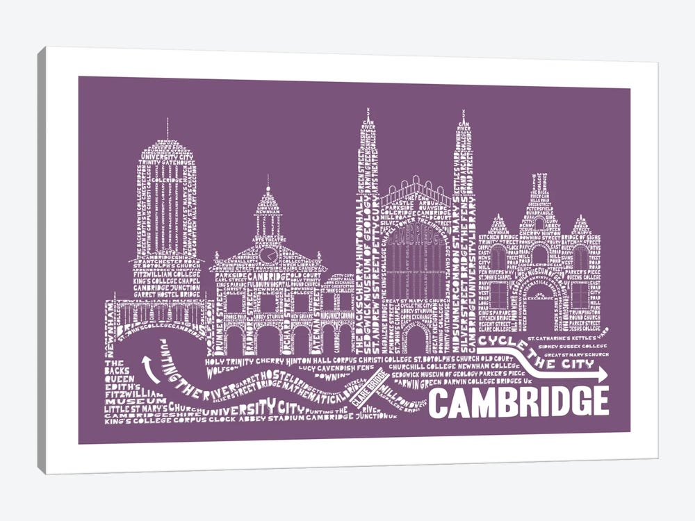 Cambridge, Frosted Berry by Citography 1-piece Canvas Print