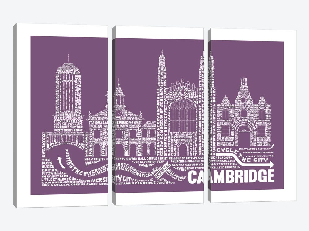 Cambridge, Frosted Berry by Citography 3-piece Canvas Print