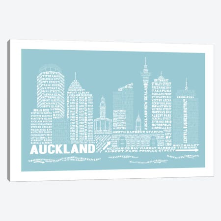 Auckland, Aqua Canvas Print #AAA1} by Citography Canvas Wall Art