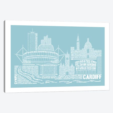 Cardiff, Aqua Canvas Print #AAA20} by Citography Canvas Print