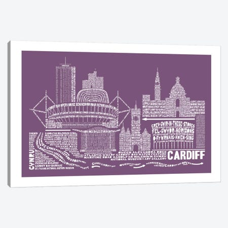 Cardiff, Frosted Berry Canvas Print #AAA21} by Citography Canvas Art Print