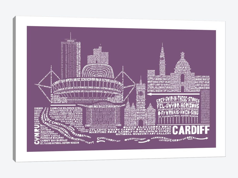Cardiff, Frosted Berry by Citography 1-piece Canvas Wall Art