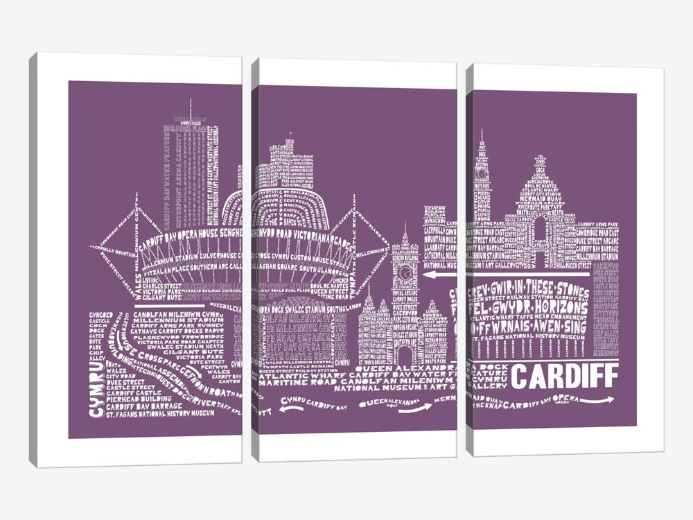 Cardiff, Frosted Berry by Citography 3-piece Canvas Wall Art