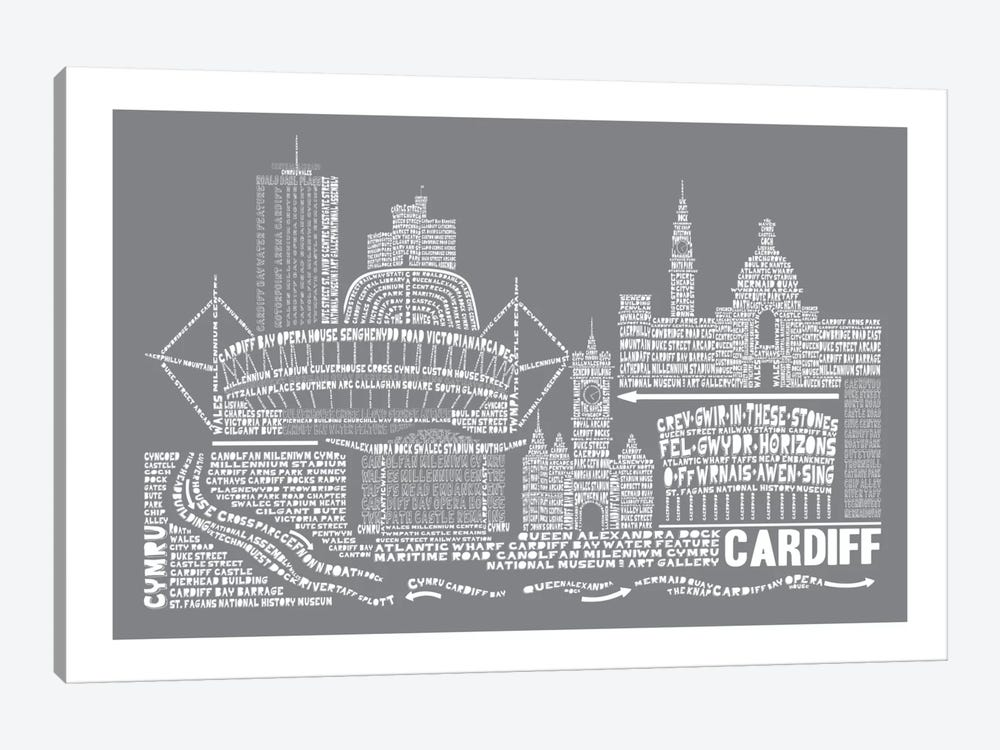 Cardiff, Slate by Citography 1-piece Art Print