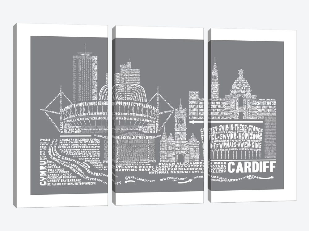 Cardiff, Slate by Citography 3-piece Canvas Art Print
