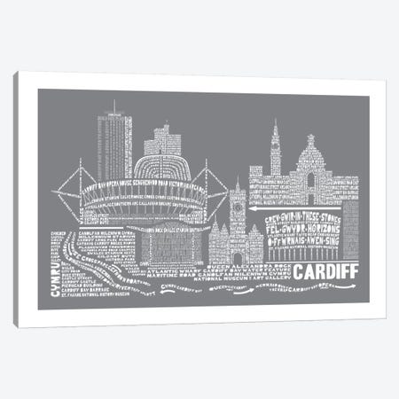 Cardiff, Slate Canvas Print #AAA22} by Citography Canvas Art Print