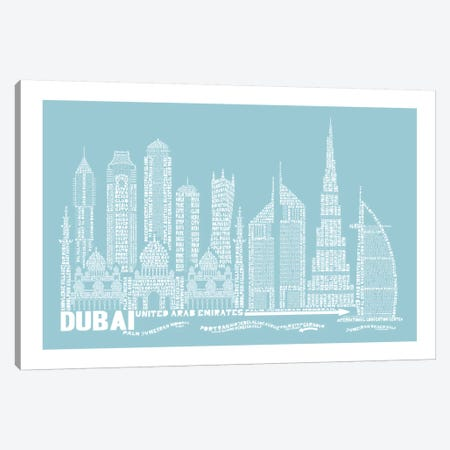 Dubai, Aqua Canvas Print #AAA23} by Citography Canvas Art Print